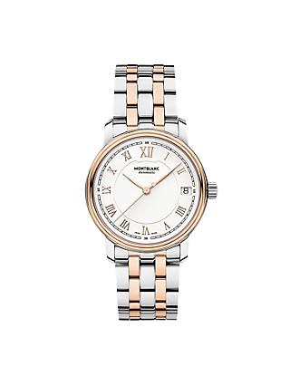 Montblanc 114369 Men's Tradition Date Two Tone Bracelet Strap, Silver/Rose Gold