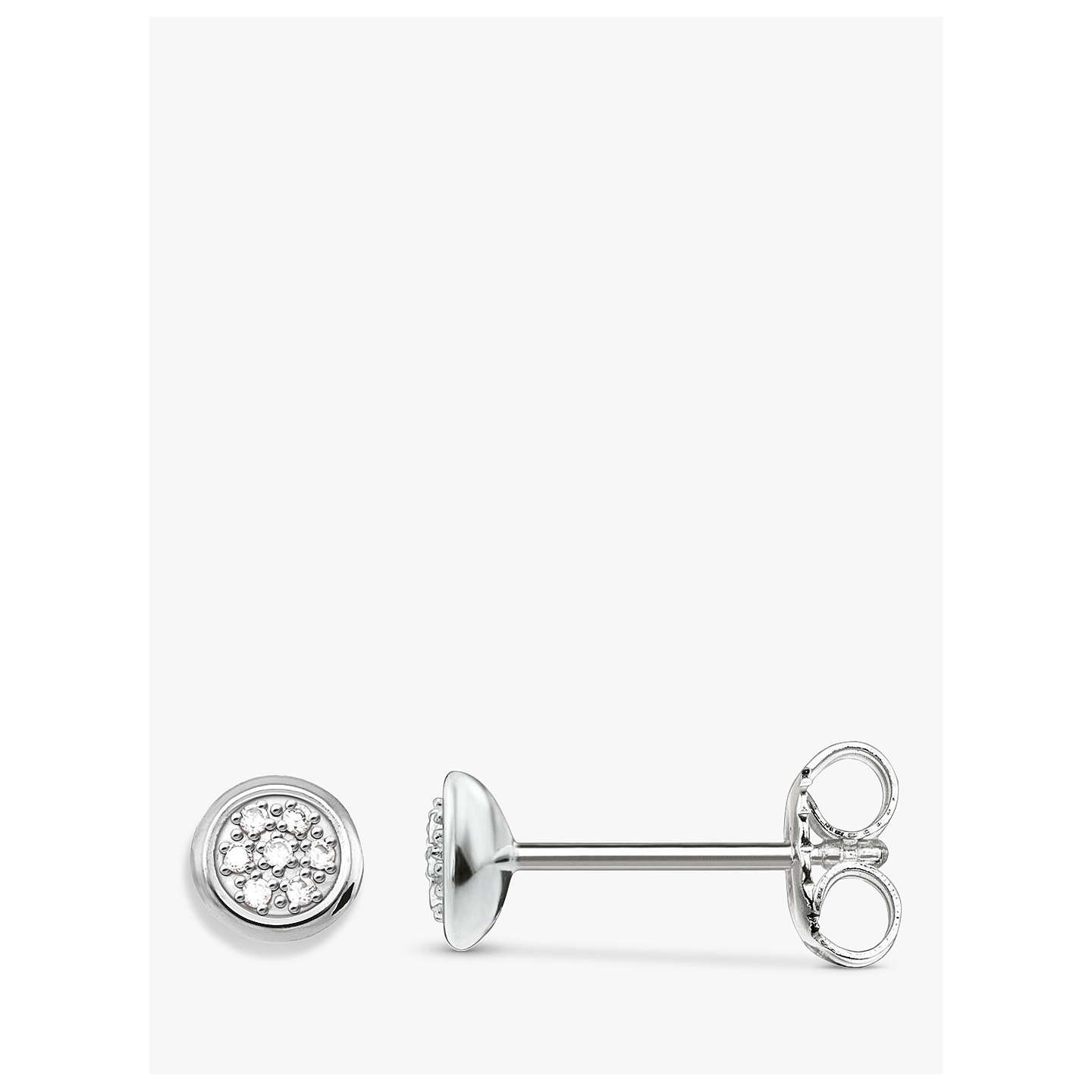 BuyTHOMAS SABO Glam & Soul Diamond Pavé Disc Stud Earrings, Silver Online at johnlewis.com