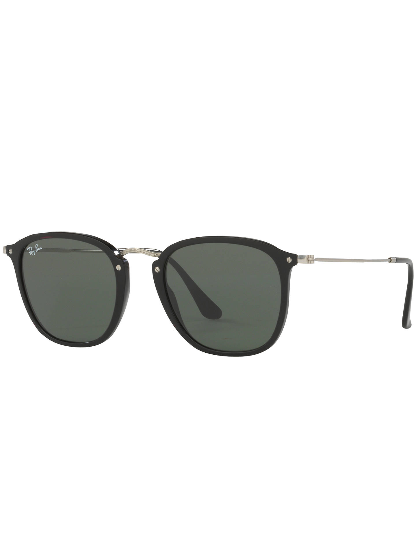 Buy Ray-Ban RB2448N Square Sunglasses, Black/Dark Green Online at johnlewis.com