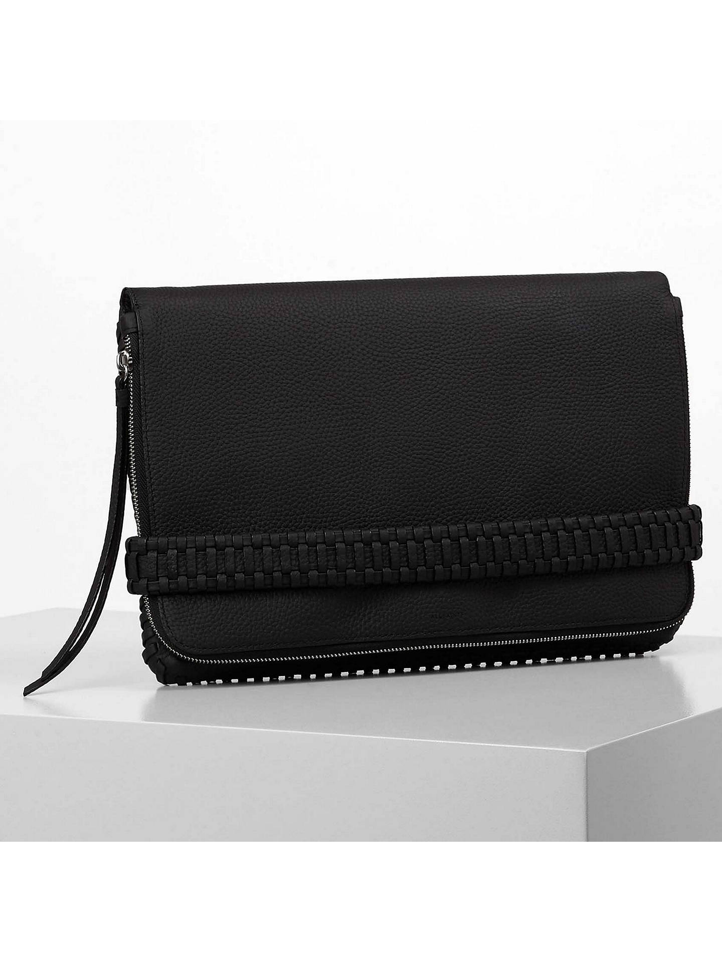 4e31cf2842 ... Buy AllSaints Club Large Clutch Bag, Black Online at johnlewis.com ...