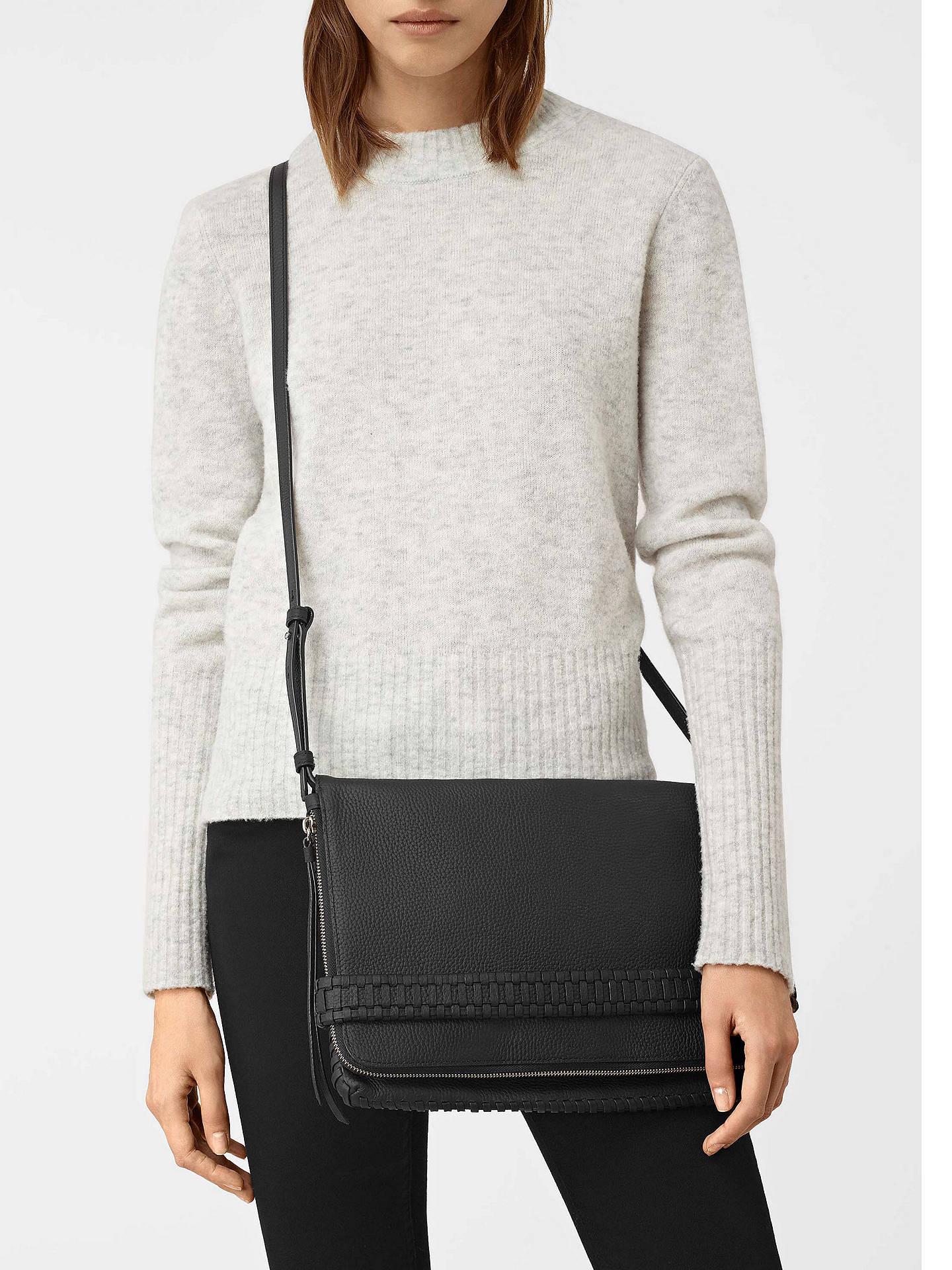 66cc899b1a ... Buy AllSaints Club Large Clutch Bag, Black Online at johnlewis.com