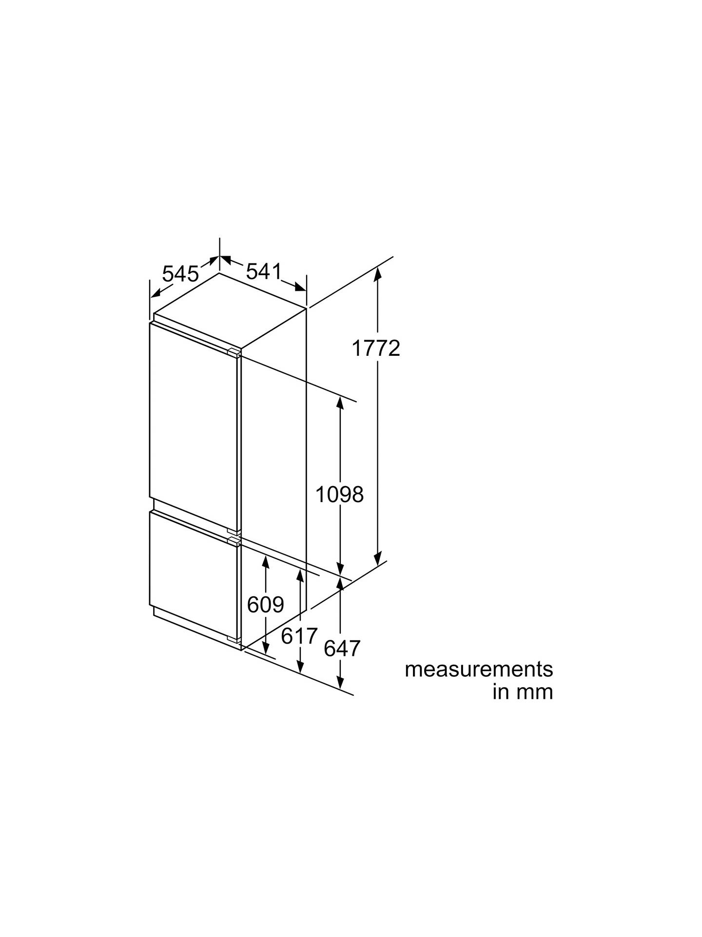 Bosch KIV87VF30G Integrated Fridge Freezer, A++ Energy