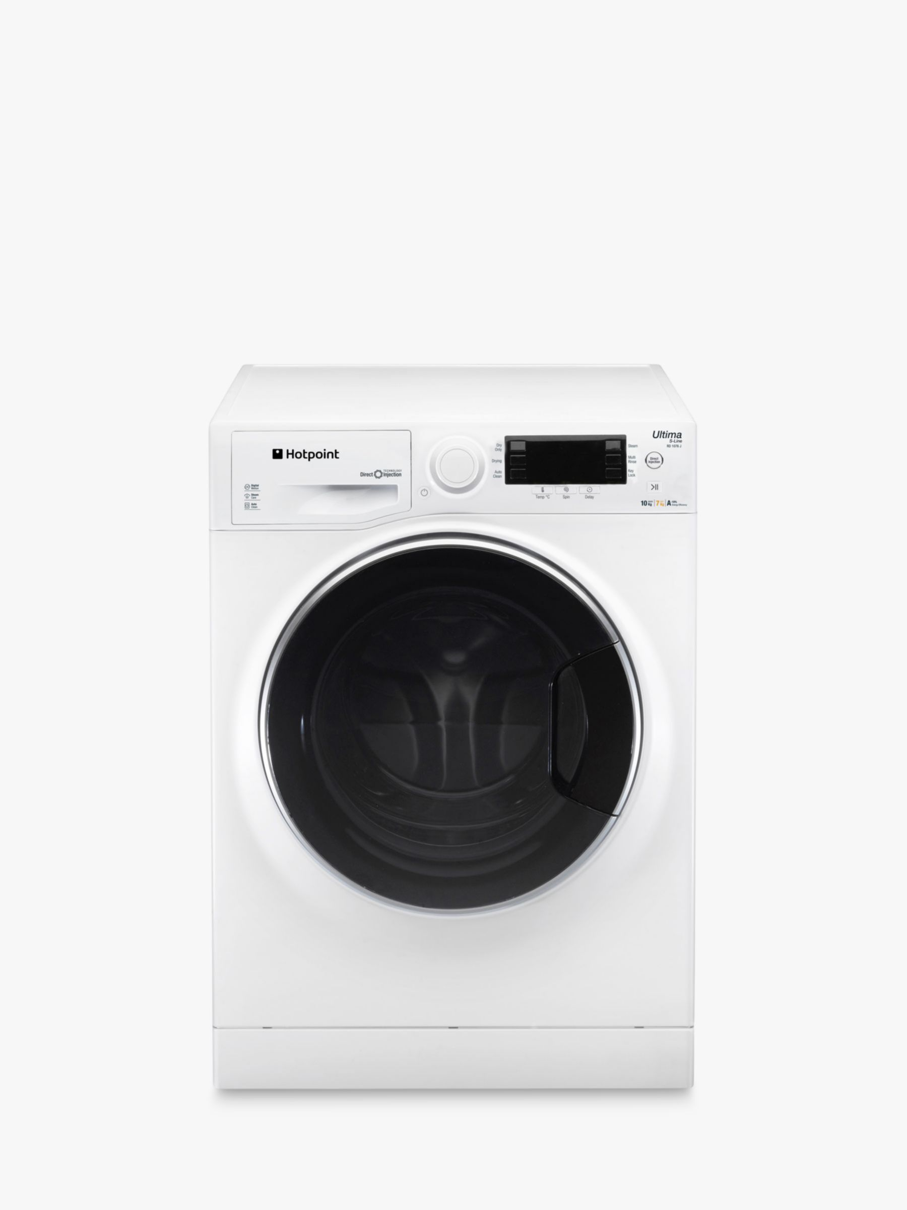 Hotpoint Hotpoint RD1076JDUK Washer Dryer, 10kg Wash/7kg Dry Load, A Energy Rating, 1600rpm Spin, White