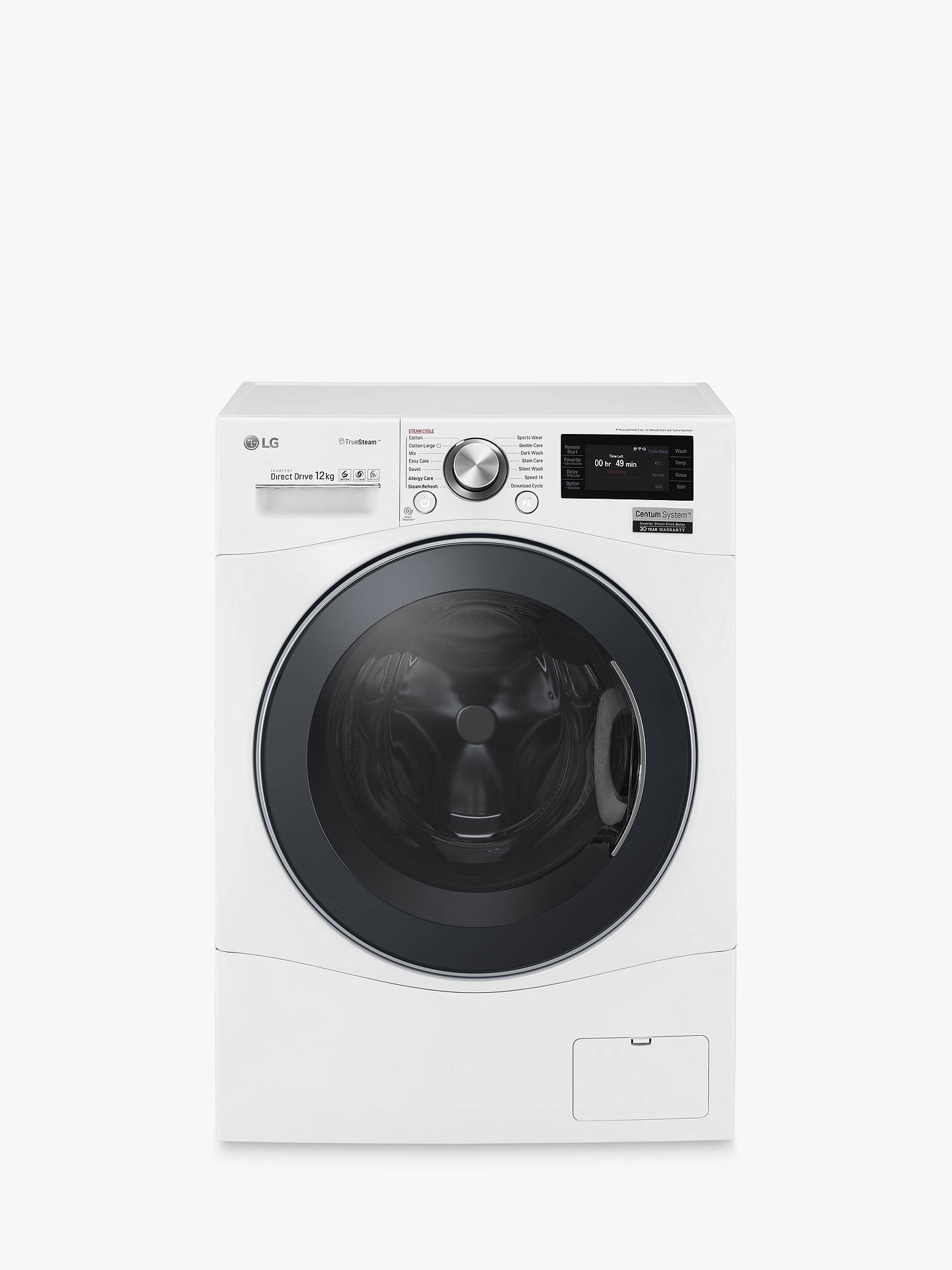 Buy LG FH6F9BDS2 Freestanding Washing Machine, 12kg Load, A+++ Energy Rating, 1600rpm Spin, Enamel White Online at johnlewis.com