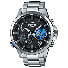 Buy Casio EQB-600D-1A2ER Men's Edifice Chronograph Bluetooth Bracelet Strap Watch, Silver/Black Online at johnlewis.com