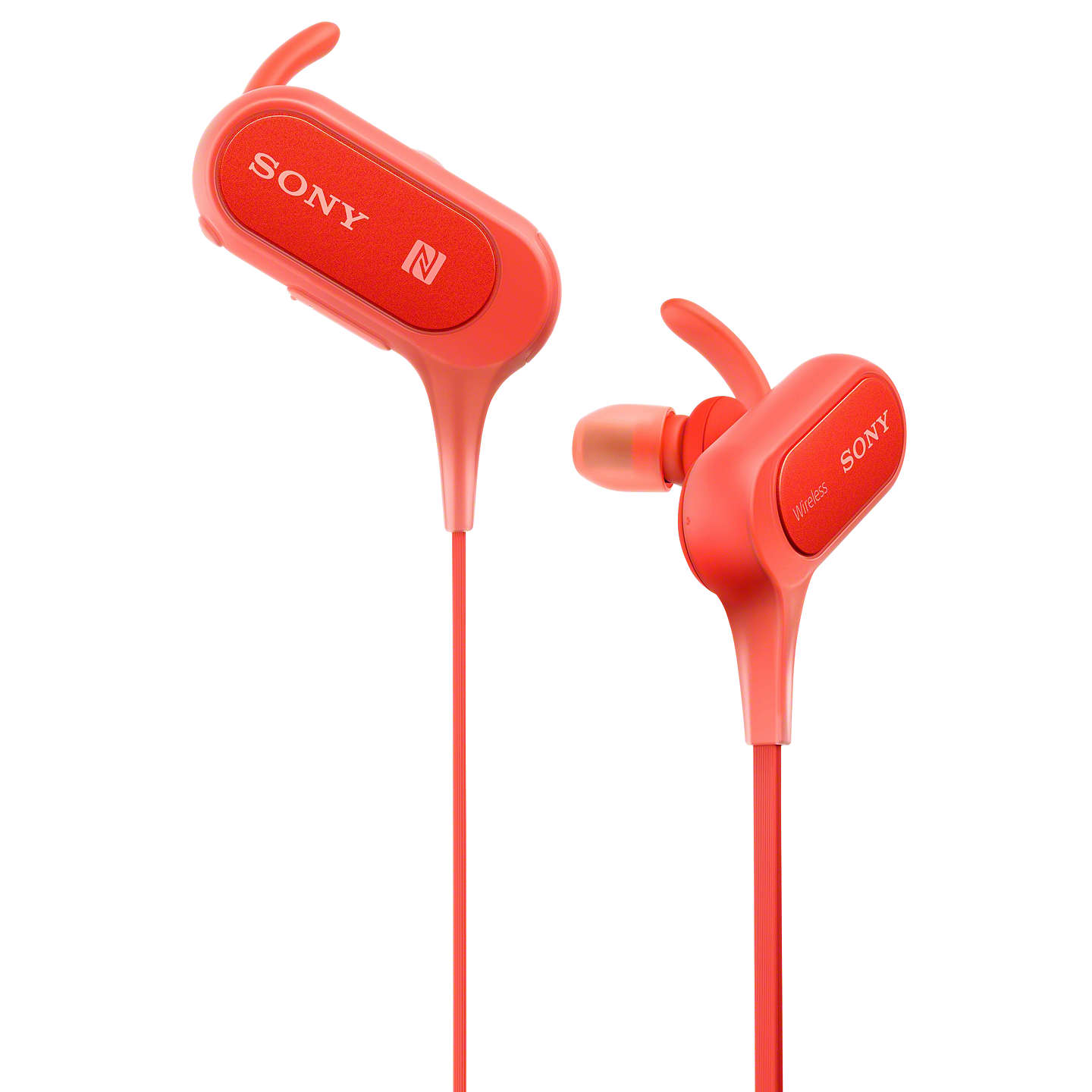 BuySony MDR-XB50BS Extra Bass Bluetooth NFC Splash Resistant Wireless Sports In-Ear Headphones with Built-In Mic, Remote & Volume Control, Red Online at johnlewis.com