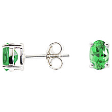Buy A B Davis 9ct White Gold Emerald Oval Claw Set Stud Earrings, 0.65ct Online at johnlewis.com