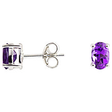 Buy A B Davis 9ct White Gold Amethyst Oval Claw Set Stud Earrings, Purple Online at johnlewis.com