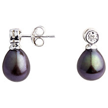 Buy A B Davis 9ct White Gold Diamond Top Pearl Drop Earrings Online at johnlewis.com