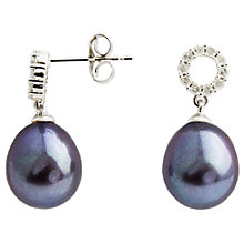 Buy A B Davis 9ct White Gold Diamond Set Pearl Drop Earrings Online at johnlewis.com