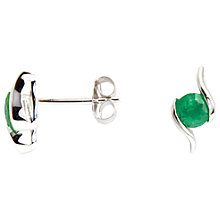 Buy A B Davis 9ct White Gold Emerald Propeller Stud Earrings, 0.4ct Online at johnlewis.com