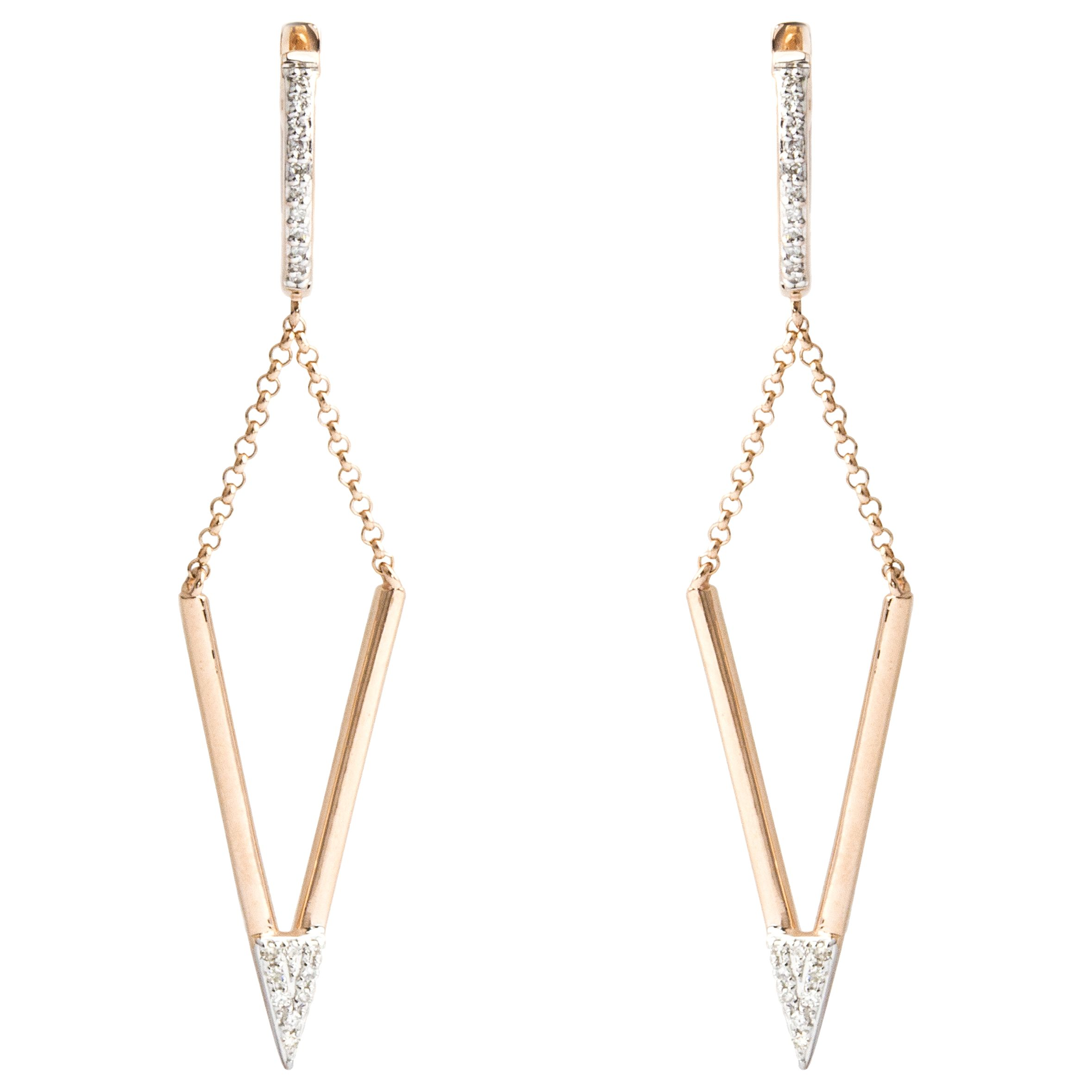 A B Davis A B Davis 9ct Gold Diamond Triangular Drop Earrings, Rose Gold