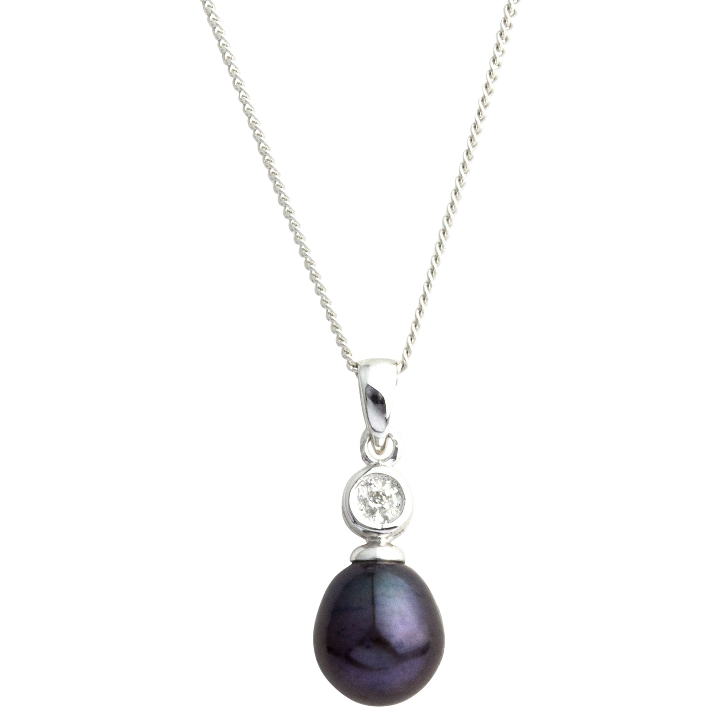 A B Davis A B Davis 9ct White Gold Diamond Pearl Pendant Necklace