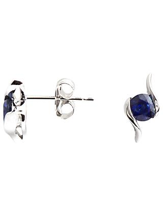 A B Davis 9ct White Gold Sapphire Propeller Stud Earrings