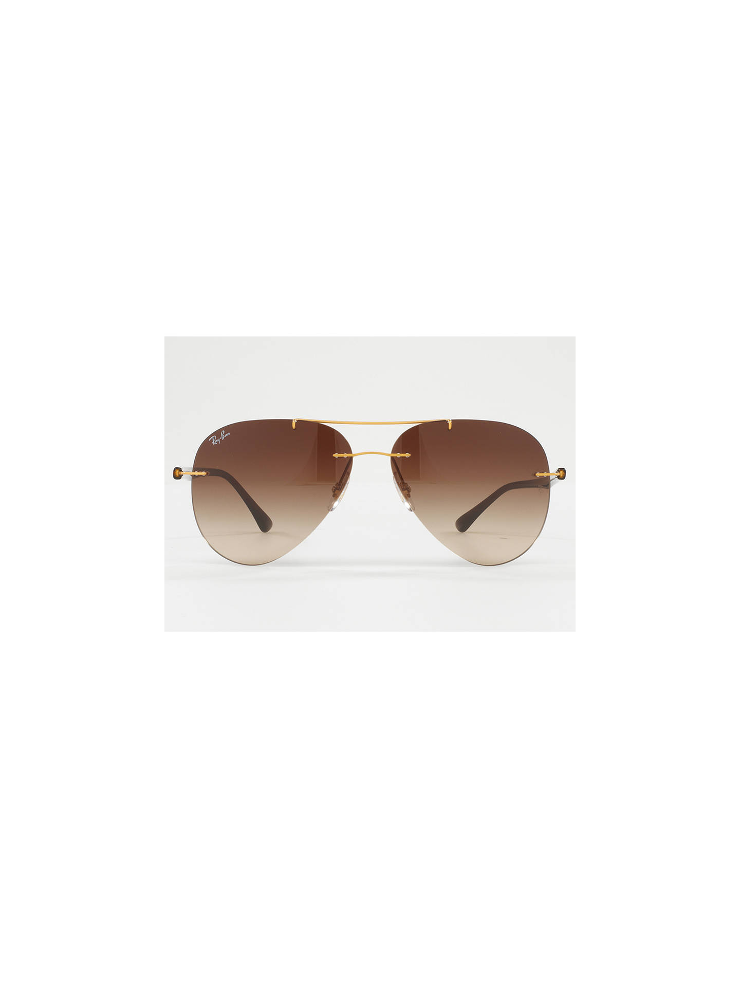 BuyRay-Ban RB8058 Frameless Aviator Sunglasses, Brushed Gold/Brown Gradient Online at johnlewis.com