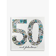 Buy Rachel Ellen Azalea Age 50 Teal Flower Birthday Card Online at johnlewis.com