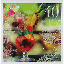Buy Woodmansterne Cocktail 40th Birthday Card Online at johnlewis.com