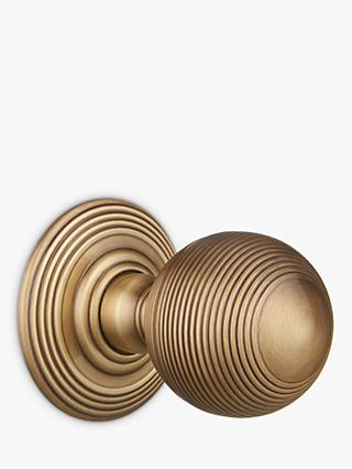 John Lewis & Partners Ribbed Beehive Mortice Knob, Antique Brass, Set of 2, Dia.50mm