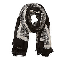 Buy Betty & Co Textured Print Scarf, Nature/Black Online at johnlewis.com