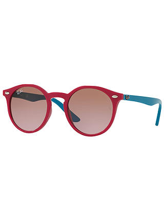 Buy Ray-Ban Junior RJ9064S Round Sunglasses, Turquoise/Pink Online at johnlewis.com