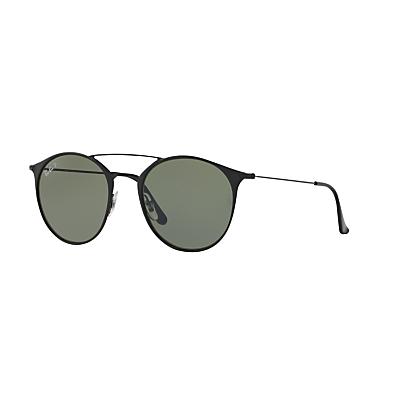Ray-Ban RB3546 Polarised Oval Sunglasses, Black/Dark Green