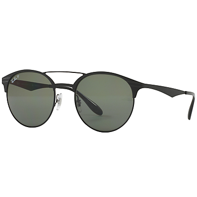 Ray-Ban RB3545 Polarised Oval Sunglasses, Black/Dark Green