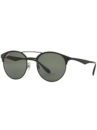 Ray-Ban RB3545 Polarised Oval Sunglasses, Black/Dark Green