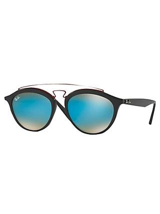 Ray-Ban RB4257 Oval Sunglasses, Black/Mirror Blue