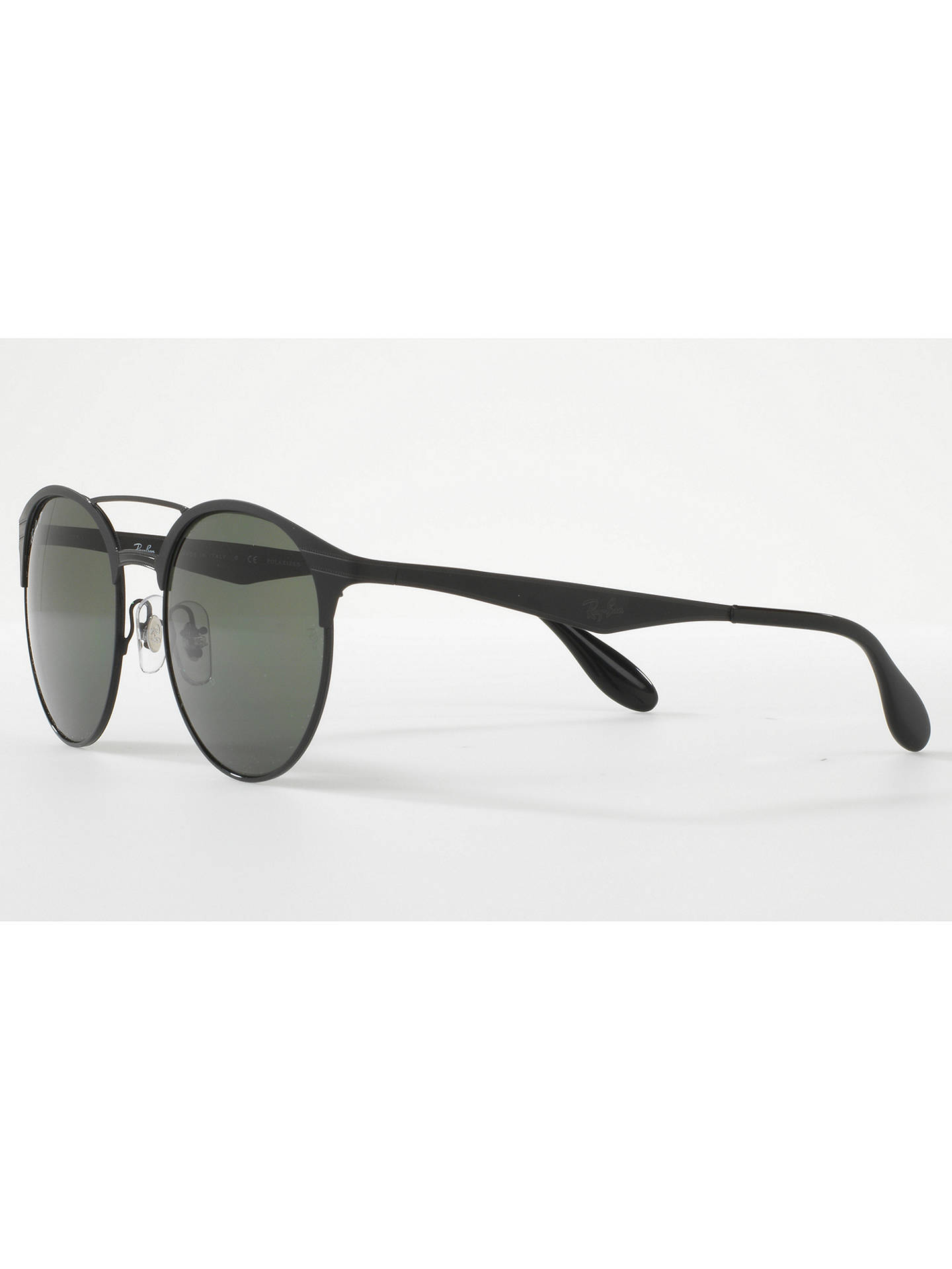 Buy Ray-Ban RB3545 Polarised Oval Sunglasses, Black/Dark Green Online at johnlewis.com