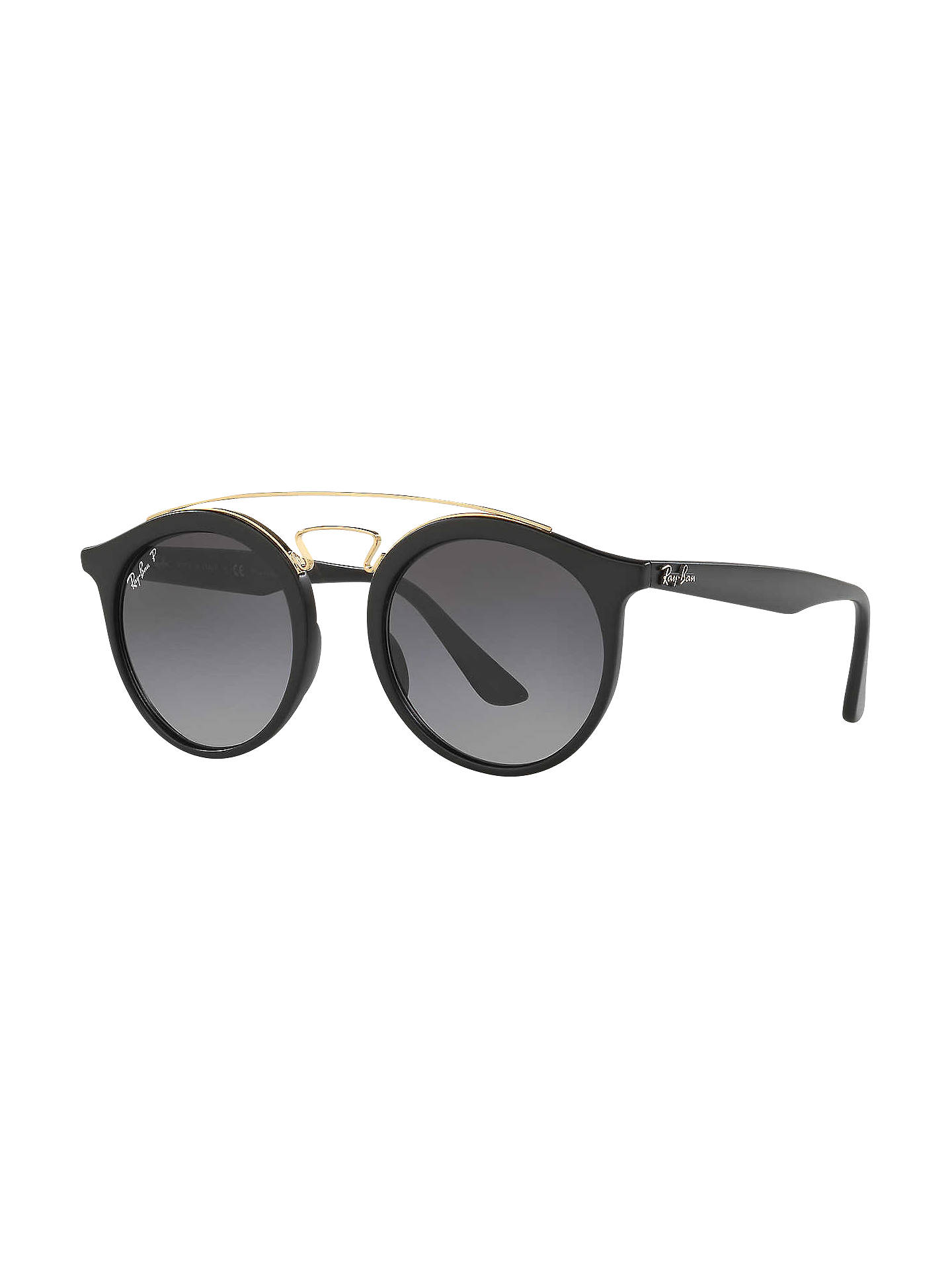 095ef12089 Buy Ray-Ban RB4256 Polarised Round Sunglasses, Black/Grey Gradient Online  at johnlewis ...