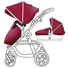 Buy Silver Cross Pioneer Chrome Pushchair and Carrycot with Vintage Red Essentials Pack bundle Online at johnlewis.com