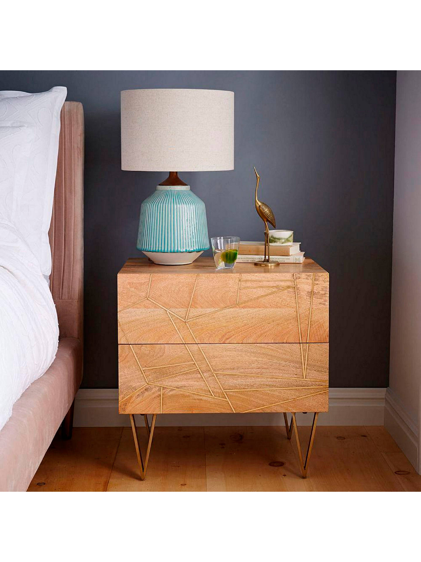 Buy Roar + Rabbit for west elm Geo Inlay 2 Drawer Bedside Table Online at johnlewis.com