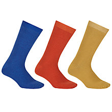 Buy Kin by John Lewis Bright Ribbed Socks, One Size, Pack of 3, Blue/Orange/Gold Online at johnlewis.com