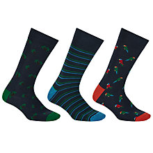 Buy John Lewis Tropical Socks, One Size, Pack of 3, Navy/Multi Online at johnlewis.com
