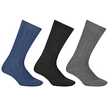 Buy Kin by John Lewis Textured Square Socks, One Size, Pack of 3, Blue/Black/Grey Online at johnlewis.com