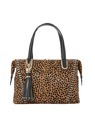 Buy Dune Dowler Mixed Material Bowling Bag, Leopard/Black Online at johnlewis.com