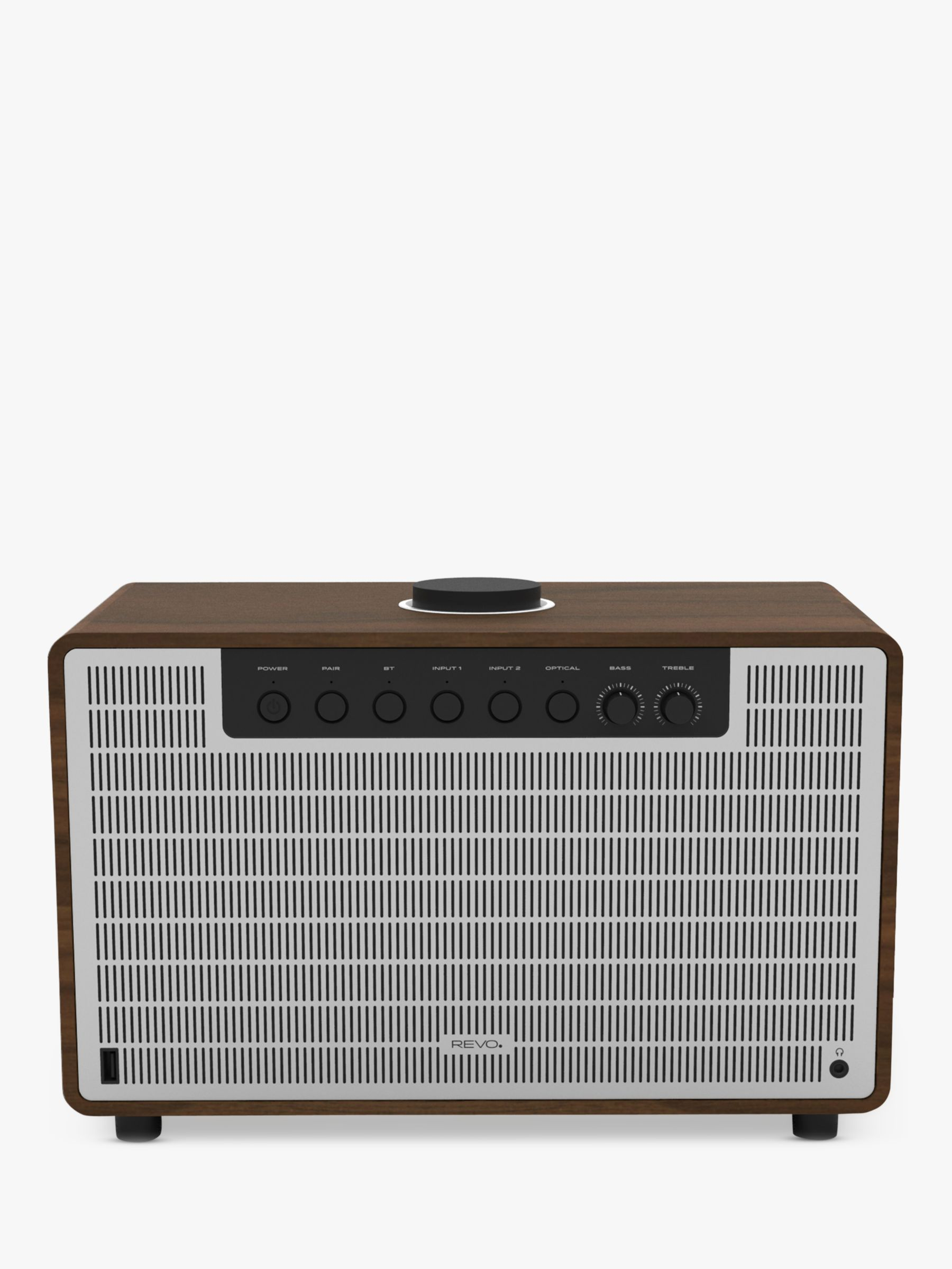 Revo Revo SuperTone Bluetooth Speaker, Walnut/Silver