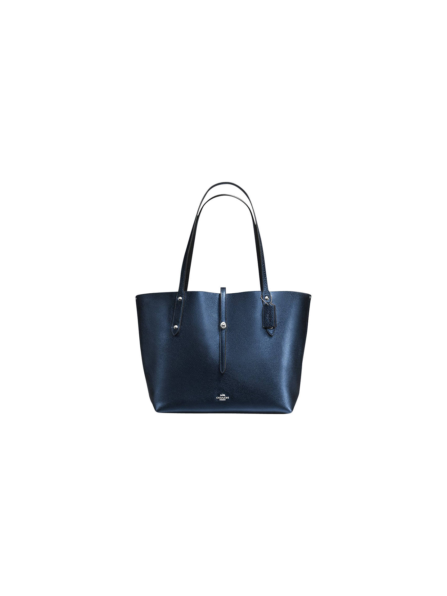 0933033ca62 Buy Coach Market Leather Tote Bag, Metallic Navy Online at johnlewis.com
