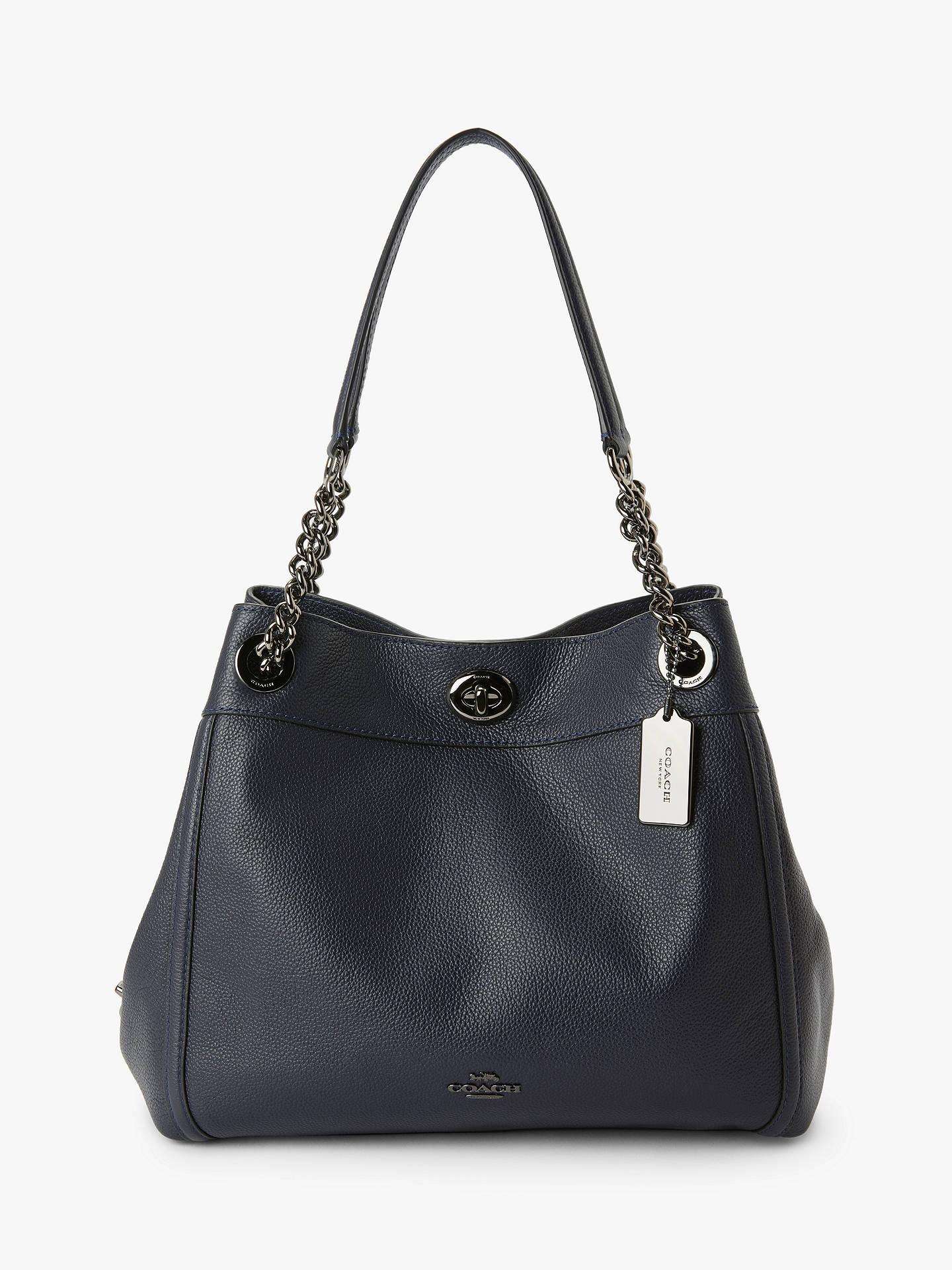 426f998382 Coach Turnlock Edie Leather Shoulder Bag, Navy
