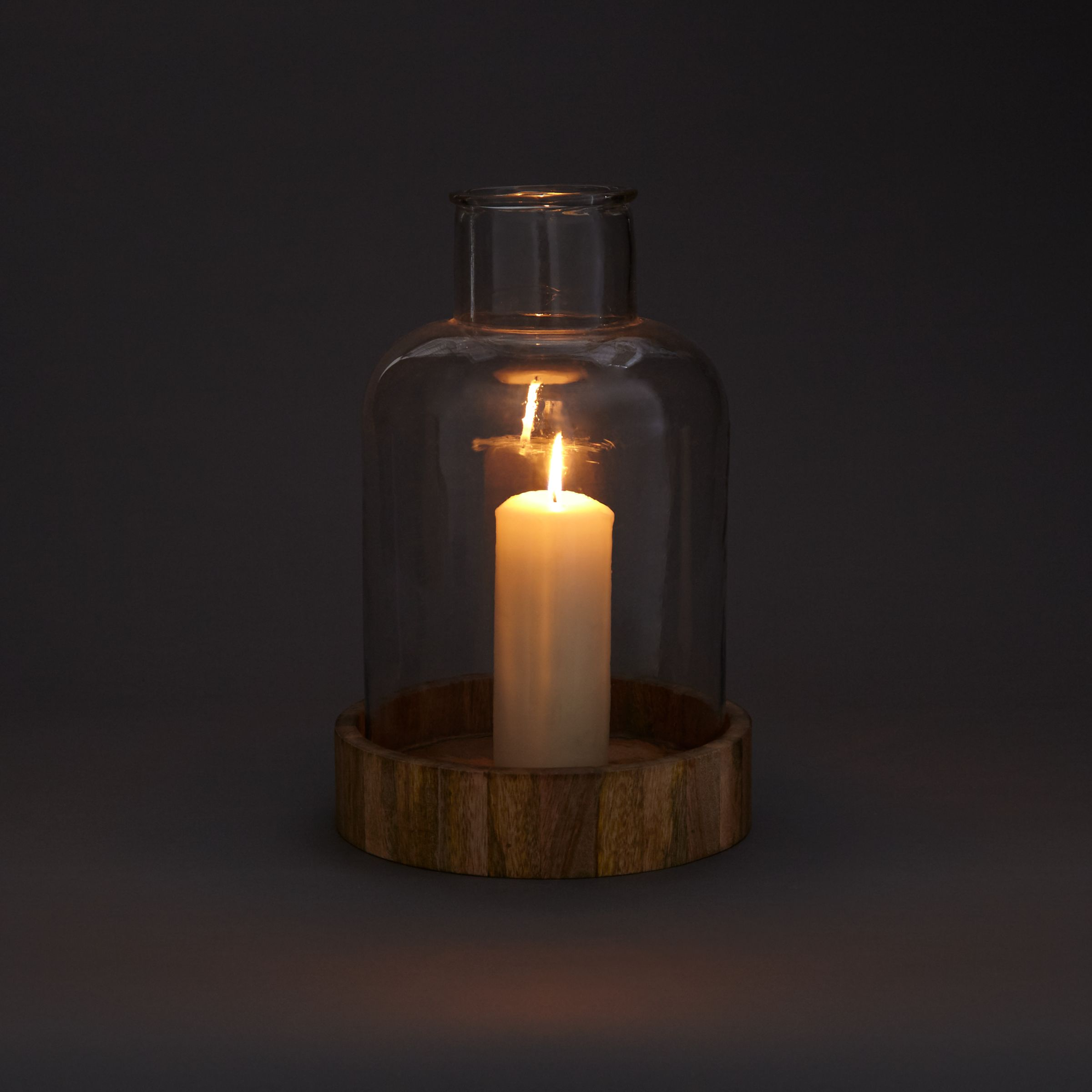 John Lewis Hurricane Candle Holder Glass With Wooden Base At John Lewis Partners