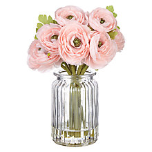 Buy John Lewis Artificial Pink Ranunculus in Glass Pot Online at johnlewis.com