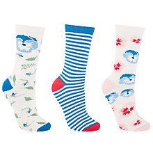 Buy John Lewis Pansy Print Ankle Socks, Pack of 3, Cornflower Blue/Blush Online at johnlewis.com