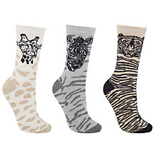 Buy John Lewis Wild Animal Ankle Socks, Pack of 3, Beige/Multi Online at johnlewis.com