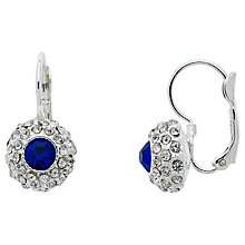 Buy Monet Pave Glass Crystal Leverback Drop Earrings, Silver/Blue Online at johnlewis.com
