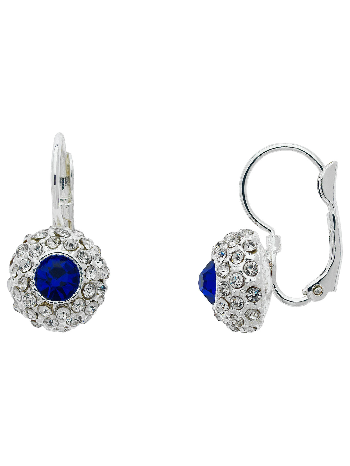 BuyMonet Pave Glass Crystal Leverback Drop Earrings, Silver/Blue Online at johnlewis.com
