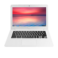 "Buy ASUS Chromebook C300SA, Intel Celeron, 2GB RAM, 32GB eMMC, 13.3"" Light Blue/White and Google Chromecast Online at johnlewis.com"
