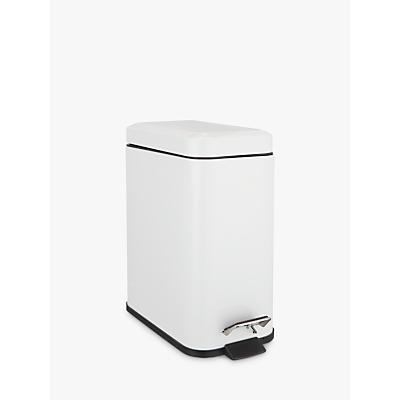 Image of John Lewis & Partners Rectangular Soft Close Bathroom Bin, White, 5L