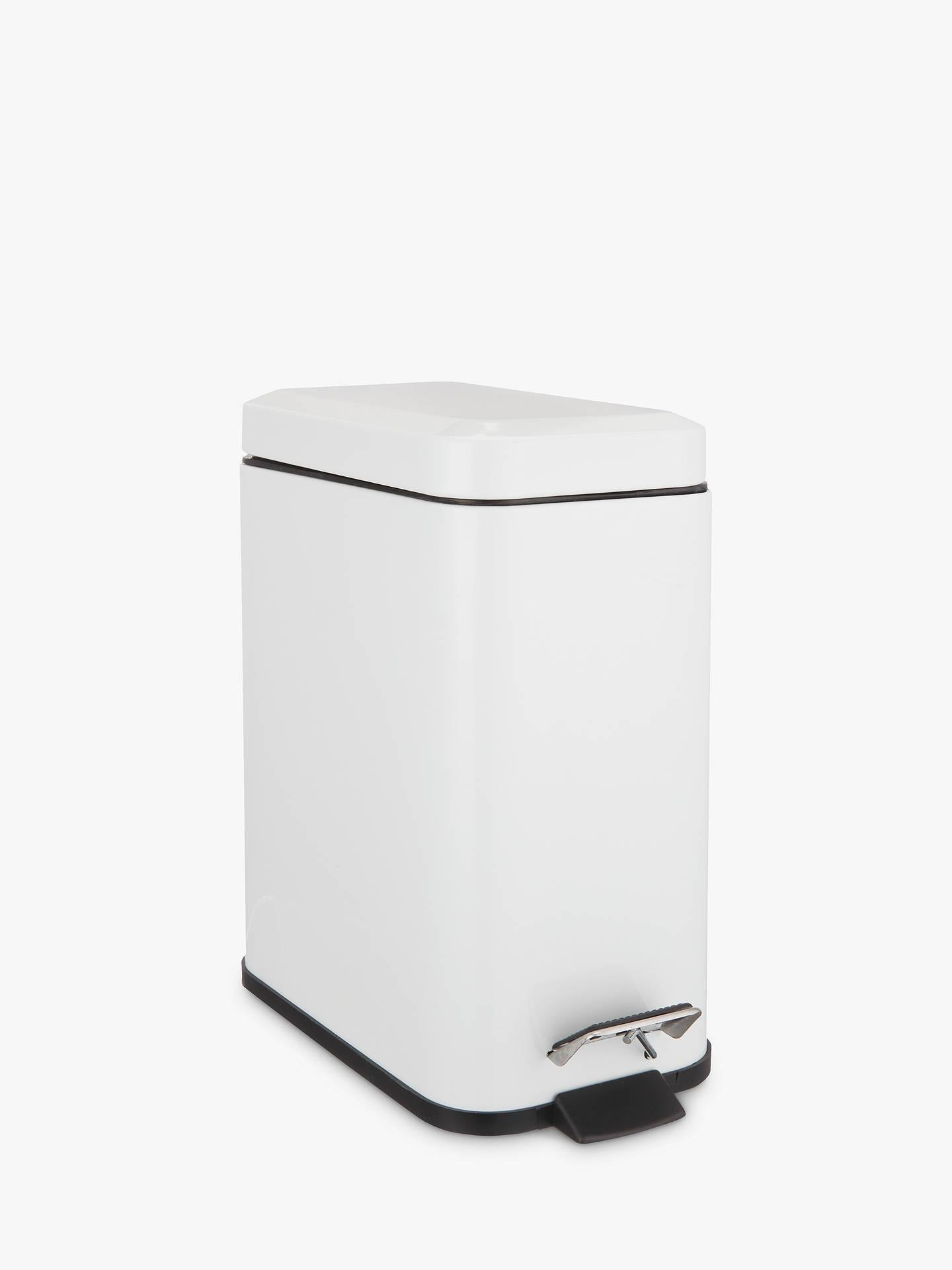 John Lewis Partners Rectangular Soft Close Bathroom Bin White 5l Online At Johnlewis