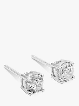 Mogul 18ct White Gold Round Brilliant Solitaire Diamond Stud Earrings, 0.75ct