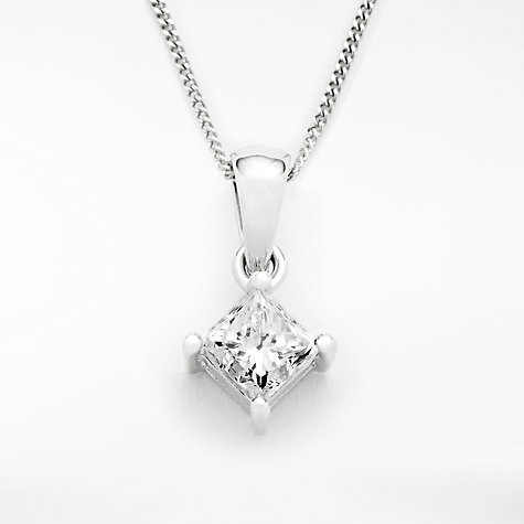 Buy diamond collection 18ct white gold princess cut solitaire buy diamond collection 18ct white gold princess cut solitaire diamond pendant necklace 075ct online aloadofball Image collections
